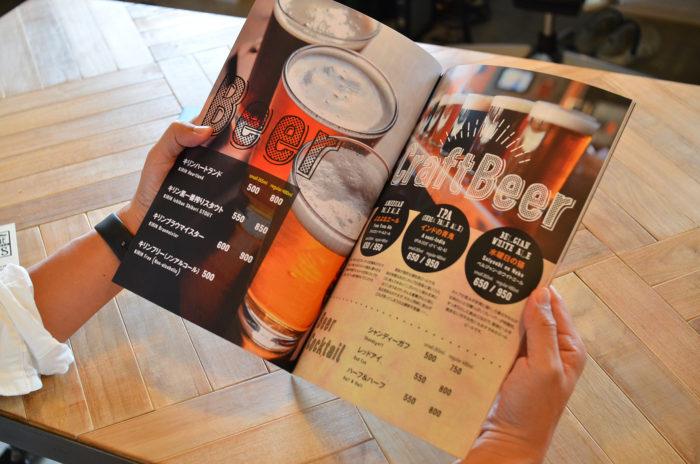 クラフトビールのメニューデザイン