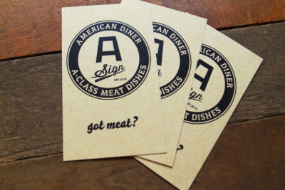 飲食ダイナーレストランロゴおしゃれアメリカン印刷ショップカード